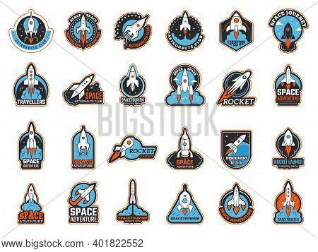Rocket Logo. Infinity Shuttle In Cosmos Lunch Startup Symbols Recent Vector Illustrations. Rocketshi