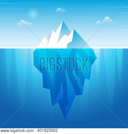 Underwater Iceberg. Flowing Ice Rock In Ocean Water Frozen Mountain Recent Vector Background. Illust