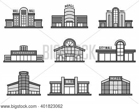 Retail Stores Symbols. Supermarket Icons Shopping Mall Facade Building Exterior Structure Monochrome