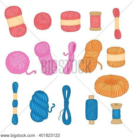 Threads Collection. Sewing Handicraft Items Tangle Threads From Woolen Neoteric Vector Cartoon Objec