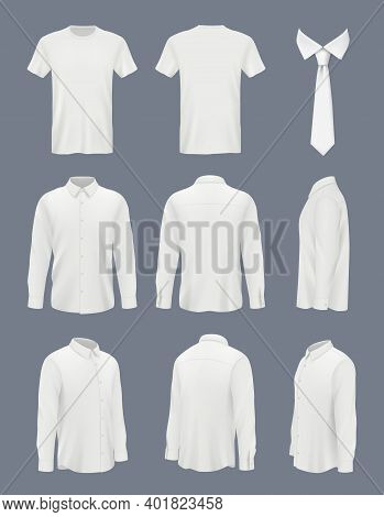 Business Shirt For Men. Male Luxury Shirt With Long Sleeve And Tie Clothes Mockup Uniforms Decent Ve