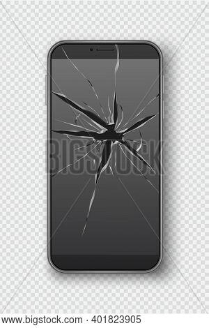 Cracked Smartphone Screen. Broken Mobile Telephone Scratch Glass Decent Vector Realistic Picture. Sc