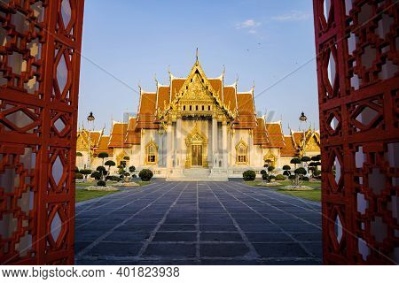 Marble Temple Of Bangkok, Thailand Benchamabophit Temple, Famous Marble Temple Is A Popular Tourist