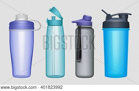 Sport Bottles. Realistic Fitness Accessories Water Bottles Protein Decent Vector Mockup Collection.