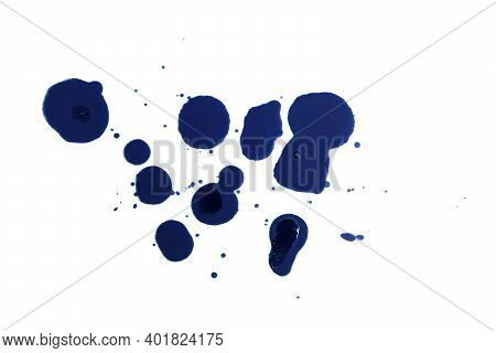 Blue Ink Pen And Ink Lining On A White Background. Ink Spot. Blue Ink Silhouette.