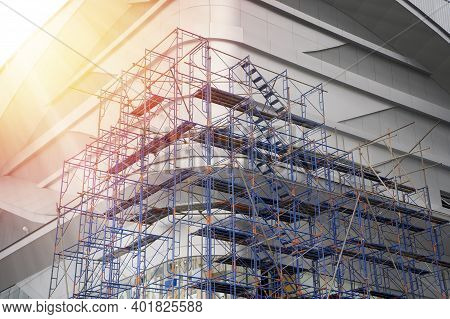 Scaffold For Construction Site Concept. Construction Site Under Construction, For Further Refurbishm