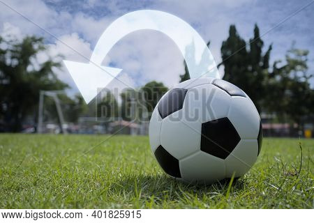 Business Goals Concept. The Purpose Of Doing Business Is To Achieve Success. The Soccer Ball That Is