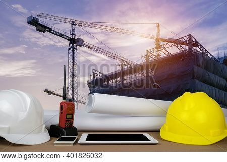 Control Concept. The Construction Of A Large Building, Structure Building With A Crane Was Installed
