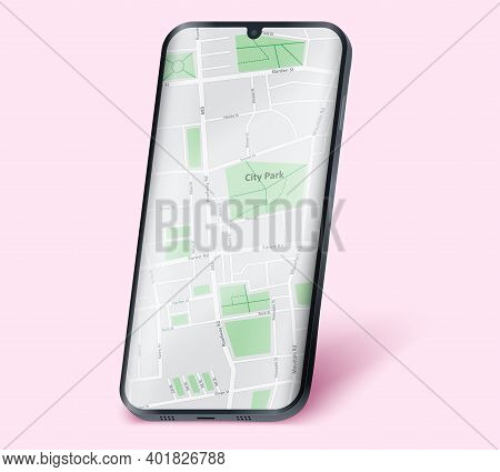 Example Frameless Model Smartphone With Map On Screen. Smartphone Layout Mockup. Technology Applicat