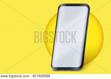 Smartphone Layout Presentation Mockup On Yellow Color. Example Frameless Model Mobile Phone With Tou