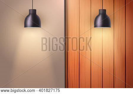Wooden Wall With Niche And Vintage Pendant Lamps. Concept Of Trendy Interior Or Cover Architecture D