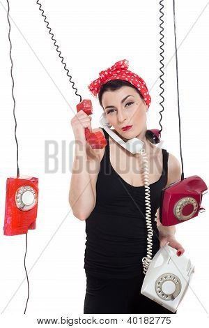 Woman With 3 Phones