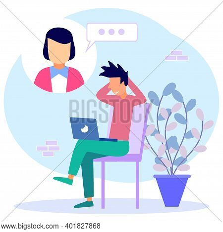 Modern Vector Illustration. Young Men Use Laptops For Video Calls With Colleagues Or Colleagues. Fri