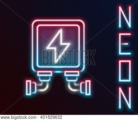 Glowing Neon Line Electric Transformer Icon Isolated On Black Background. Colorful Outline Concept.