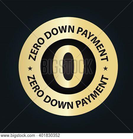 Zero Down Payment Stamp, Golden Premium Vector Icon