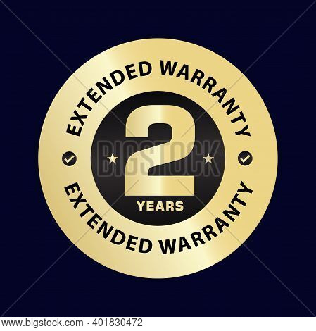 Two Year Extended Warranty Vector Stamp. 2year Warranty Elegant Golden Icon Illustration