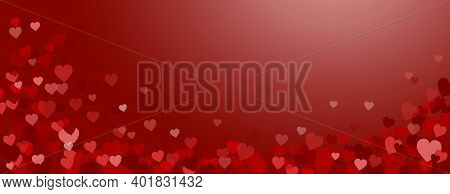 Valentines Day Vector Banner. Gradient Background With Red And Pink Hearts