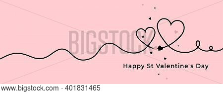 Happy Valentine's Day Horizontal Pink Banner With Black Line Hearts. Vector Illustration Greeting Ca