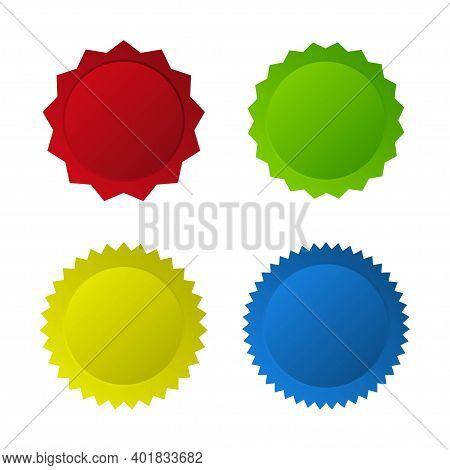 Set Of Colorful Simple Starburst Badge Icon. Empty Labels. Sale Tag Percent Symbol.  Vector Illustra