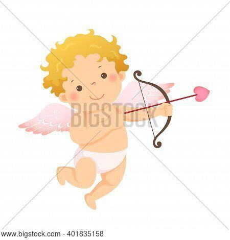 Vector Illustration Cartoon Of Little Cupid With Bow And Arrow. Vector Illustration Of A Valentine's