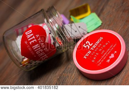 A Jar Filled With Notes Of Fun Dating Ideas