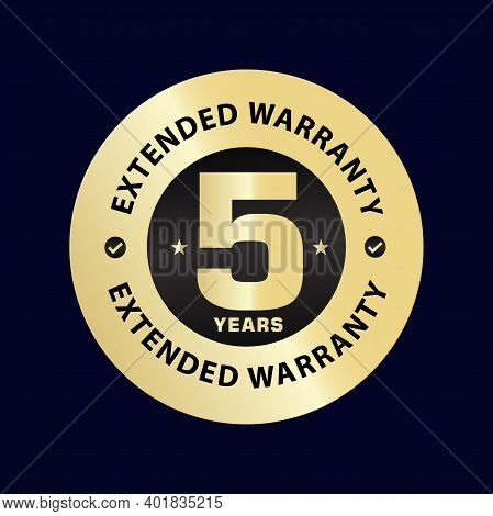 Five Year Extended Warranty, Golden  Stamp Elegant Vector Illustration, 5 Years Warranty