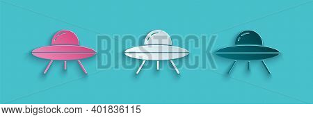 Paper Cut Ufo Flying Spaceship Icon Isolated On Blue Background. Flying Saucer. Alien Space Ship. Fu