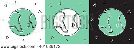 Set Earth Globe Icon Isolated On White And Green, Black Background. World Or Earth Sign. Global Inte
