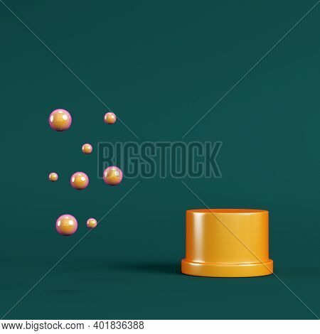 Yellow Pedestal With Spheres On Dark Green Background. Minimalism Concept. 3d Render