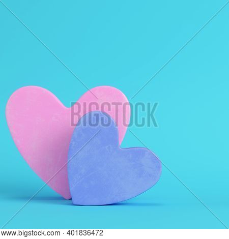 Pink And Blue Abstract Heart Shape On Bright Blue Background In Pastel Colors. Minimalism Concept. 3