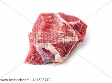Preform For Steak Rib Eye Of Marbled Beef Striploin Steak On A White Background, Isolated, Eco-frien