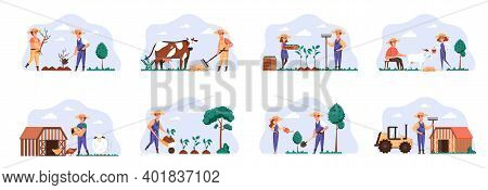 Farmers Scenes Bundle With People Characters. Farmers Planting And Watering Trees, Gardening And Ani
