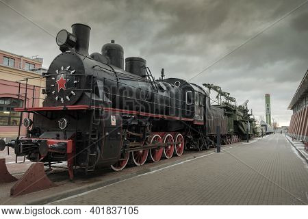 Russia, Saint Petersburg, Russian Railway Museum, February 2020: Selective Focus Em 730-31 Cargo Ste