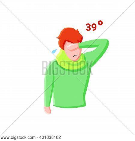 High Temperature Flat Icon. Fever. Person Goes Hot. High Body Temperature. Symptom Covid19 Concept.