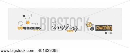 Logo Options For Coworking. Co-work, Coworking Space, Collaboration Office. Vector Illustrations In