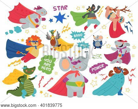 Super Animals Characters. Cute Child Heroes, Superman Mask On Crocodile Lion. Happy Cartoon Shark We
