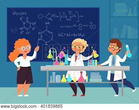Chemistry Class. Scientific Study, Children Learning Or Teaching In School. New Knowledge, Safety Sc