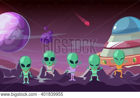 Aliens On Planet. Colonization Planet, Spaceship And Ufo. Cartoon Universe Background, Game Location
