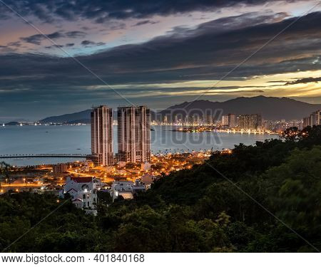 Night view of Nha Trang city from the mountain, Vietnam