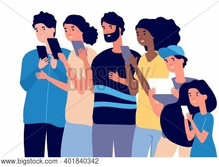 People Portrait With Gadgets. Diverse Adults Kids Teenager Use Smartphones Tablets. Happy Call Phone