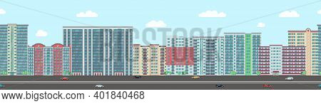 Urban District Panorama. Modern Town, Apartment Buildings Or Real Estate Background. Flat Houses And