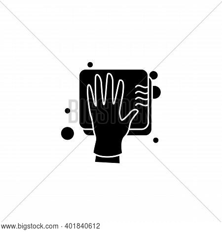 Cleaning Sponge Glyph Icon. Wiping With Sponge. Housekeeper Hand In Glove With Sponge Filled Flat Si