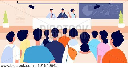 Press Conference. Business Event, Congress Hall Stage And Auditorium. People On Podium, Audience On