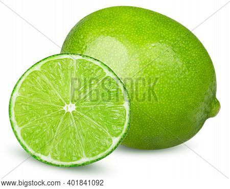 Isolated Limes. One Whole Lime And Slice Of Lime Fruit Isolated On White Background With Clipping Pa
