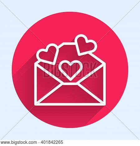 White Line Envelope With Valentine Heart Icon Isolated With Long Shadow. Message Love. Letter Love A