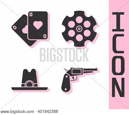 Set Revolver Gun, Playing Cards, Western Cowboy Hat And Revolver Cylinder Icon. Vector