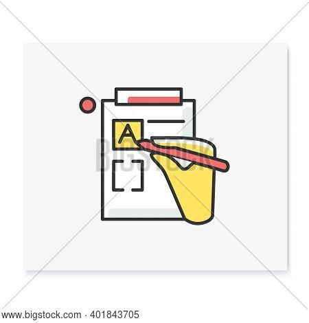 Version Control Color Icon. Linear Pictogram Of Hand, Editing Product Version Form. Concept Of Creat