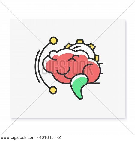 Brainstorming Color Icon. Effective Brain With Gear Linear Pictogram. Creative Art Idea Production A