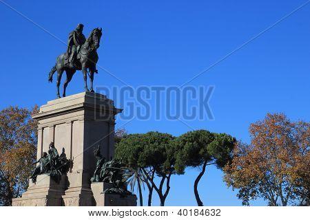 Garibaldi memorial statue at the top of Janiculum hill in Rome Italy poster