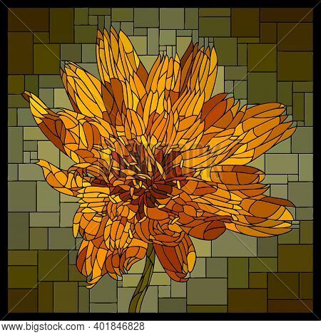 Vector Square Mosaic With Blooming Orange Marigold Flower In Stained Glass Window.